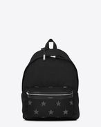 SAINT LAURENT Backpack U CITY CALIFORNIA Stars Backpack in Black and Washed Grey f