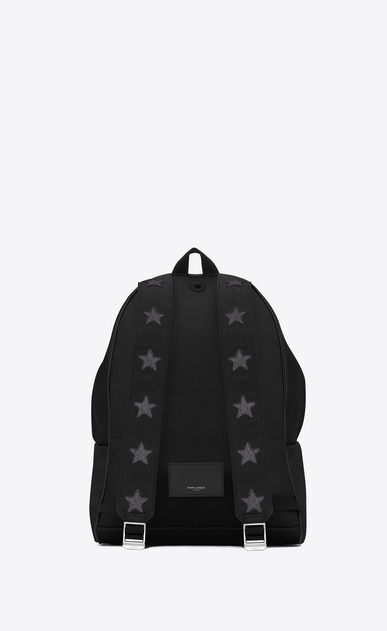 SAINT LAURENT Backpack U CITY CALIFORNIA Stars Backpack in Black and Washed Grey b_V4