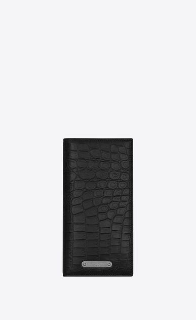 SAINT LAURENT ID SLG Man ID Continental Wallet in Black crocodile embossed leather a_V4