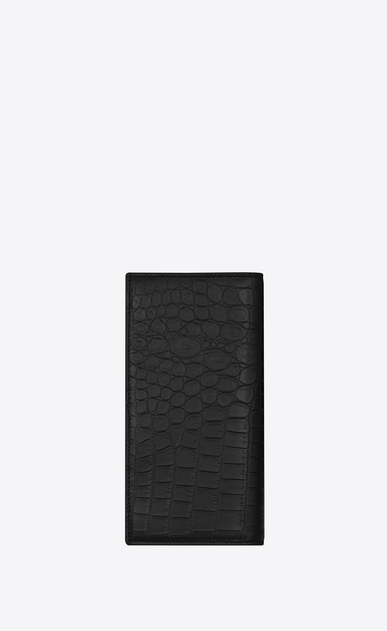 SAINT LAURENT ID SLG Man ID Continental Wallet in Black crocodile embossed leather b_V4