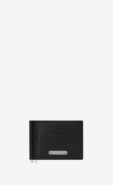 SAINT LAURENT ID SLG U ID Bill Clip Wallet in Black crocodile embossed leather a_V4