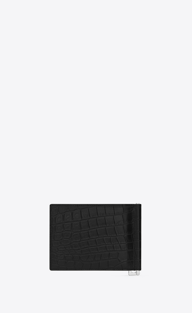SAINT LAURENT ID SLG U ID Bill Clip Wallet in Black crocodile embossed leather b_V4
