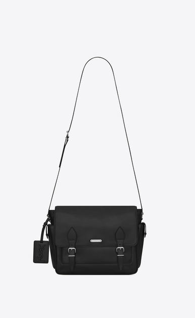 SAINT LAURENT Messenger And Crossbody Man id messenger bag in black leather a_V4