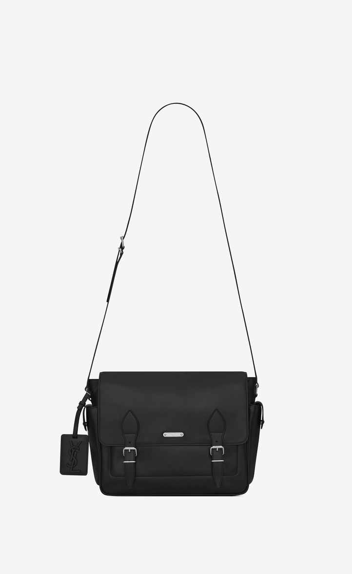 Id Messenger Bag In Black Leather Front View