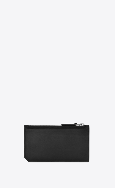 SAINT LAURENT ID SLG U ID FRAGMENTS Zip Pouch in Black leather b_V4