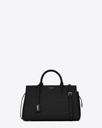 SAINT LAURENT RIVE GAUCHE D small cabas rive gauche bag in black crocodile embossed leather f