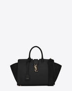 SAINT LAURENT MONOGRAMME TOTE D small monogram saint laurent downtown cabas bag in black leather and suede f