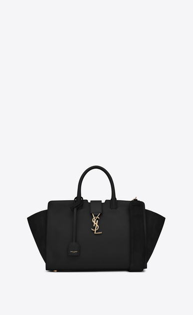 SAINT LAURENT MONOGRAMME TOTE Woman small downtown cabas bag in black leather and suede a_V4