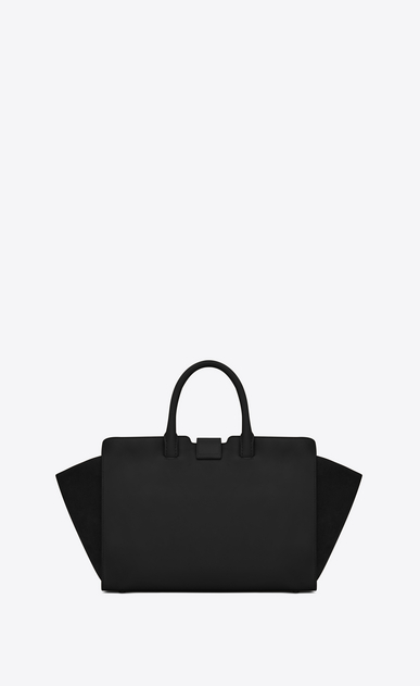SAINT LAURENT MONOGRAMME TOTE Woman small downtown cabas bag in black leather and suede b_V4