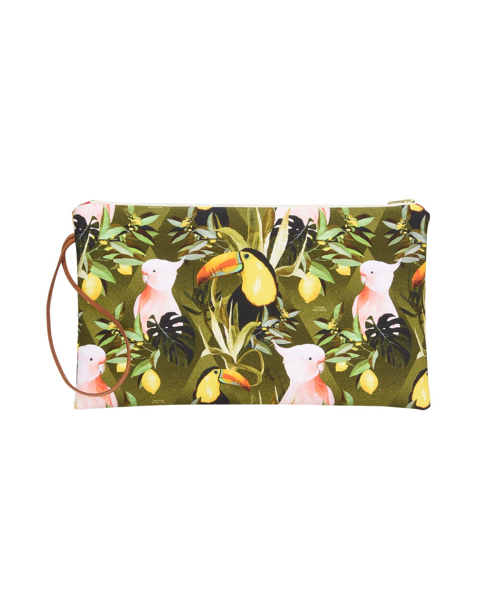 《送料無料》MAISON BALUCHON レディース ハンドバッグ ミリタリーグリーン 紡績繊維 LONG POCHETTE