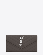 SAINT LAURENT Monogram Matelassé D large monogram flap wallet in earth grain de poudre matelassé leather f