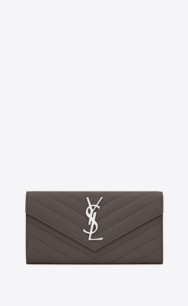 SAINT LAURENT Monogram Matelassé Woman large monogram flap wallet in earth grain de poudre matelassé leather a_V4