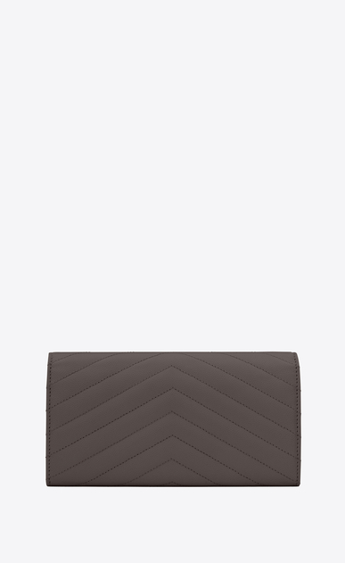 SAINT LAURENT Monogram Matelassé Woman large monogram flap wallet in earth grain de poudre matelassé leather b_V4