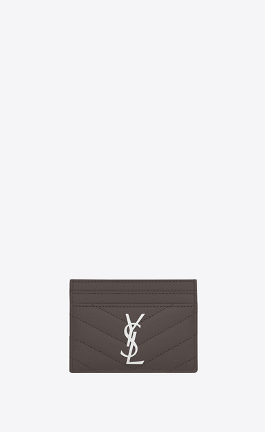 SAINT LAURENT Monogram Matelassé Woman monogram credit card case in earth grain de poudre textured matelassé leather a_V4