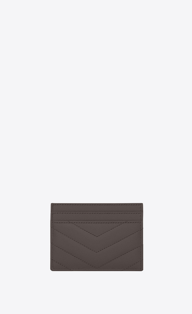 SAINT LAURENT Monogram Matelassé Woman monogram credit card case in earth grain de poudre textured matelassé leather b_V4