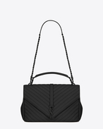 SAINT LAURENT Monogram College D classic large collège bag in black matelassé leather f