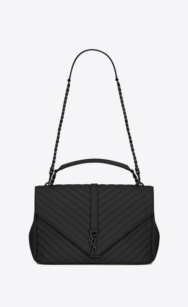 SAINT LAURENT Monogram College D classic large collège bag in black matelassé leather v4