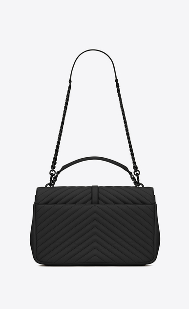 SAINT LAURENT Monogram College D classic large collège bag in black matelassé leather b_V4