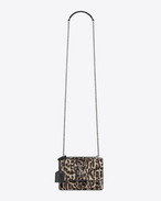 SAINT LAURENT Sunset D small sunset monogram bag in natural and black leopard printed cowhide and black leather f