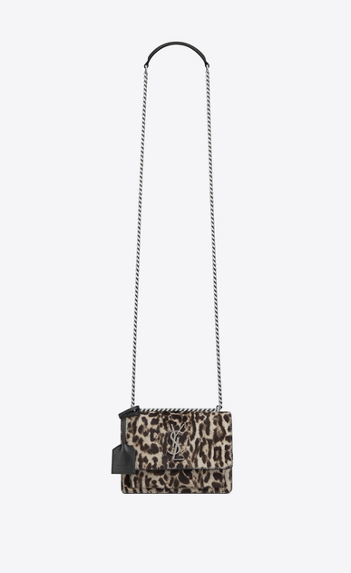 SAINT LAURENT Sunset D small sunset bag in natural and black leopard printed cowhide and black leather a_V4
