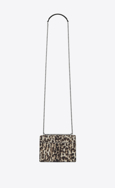 SAINT LAURENT Sunset D small sunset bag in natural and black leopard printed cowhide and black leather b_V4