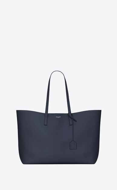 SAINT LAURENT Shopping Saint Laurent E/W D shopping saint laurent tote bag in navy blue leather a_V4