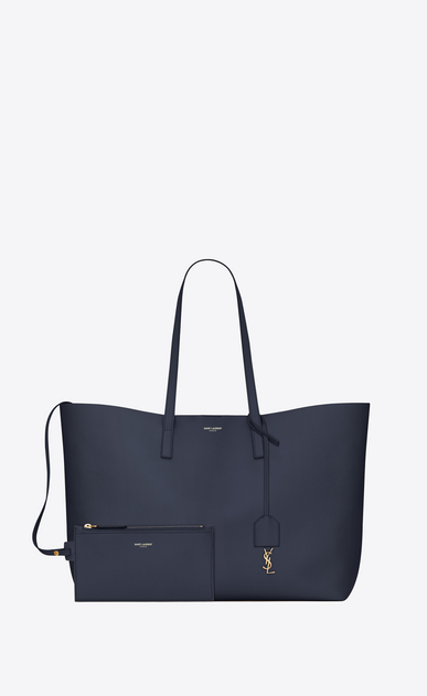 SAINT LAURENT Shopping Saint Laurent E/O Femme sac shopping en cuir bleu marine b_V4