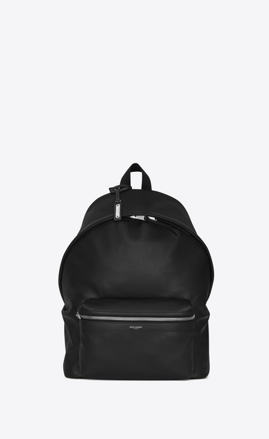 SAINT LAURENT Backpack U city backpack in black matt leather a_V4