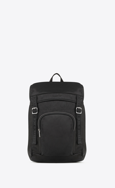 SAINT LAURENT Buckle Backpacks U délavé rucksack in black washed leather a_V4
