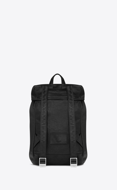 SAINT LAURENT Buckle Backpacks U délavé rucksack in black washed leather b_V4