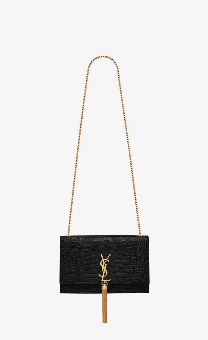 Kate Medium With Tassel In Embossed Crocodile Shiny Leather Front View