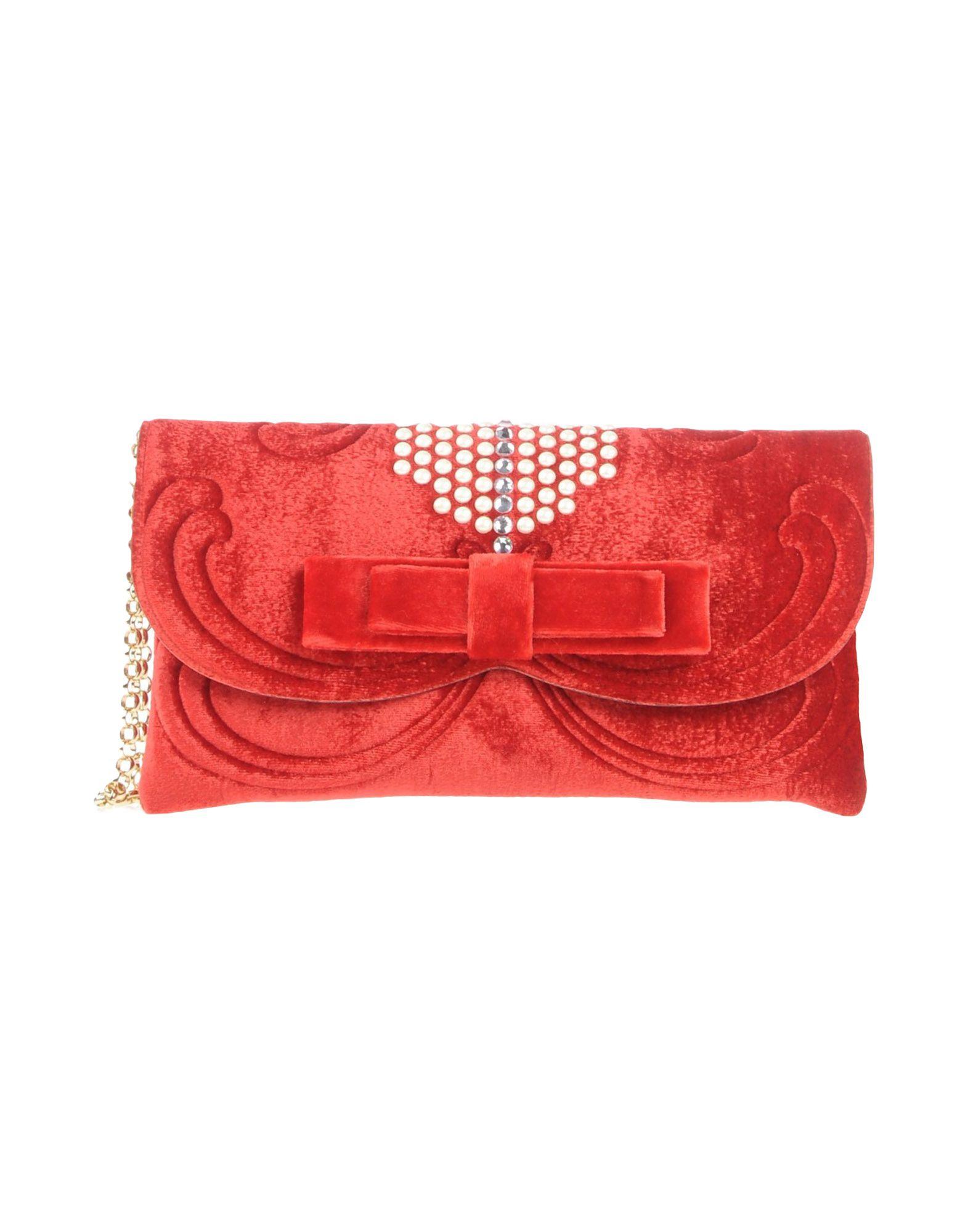 《送料無料》LA FILLE des FLEURS レディース ハンドバッグ レッド 紡績繊維