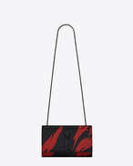 SAINT LAURENT MONOGRAM KATE D classic medium kate satchel in black and red flame print leather f