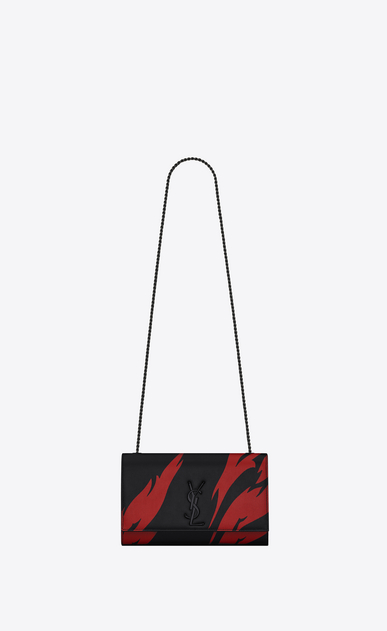SAINT LAURENT MONOGRAM KATE D classic medium kate satchel in black and red flame print leather a_V4