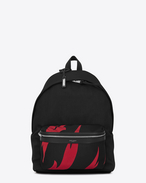 SAINT LAURENT Backpack U CITY Flame Print Backpack in Black and Red nylon canvas f
