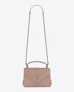 SAINT LAURENT Monogram College D classic medium collège bag in powder pink matelassé leather f