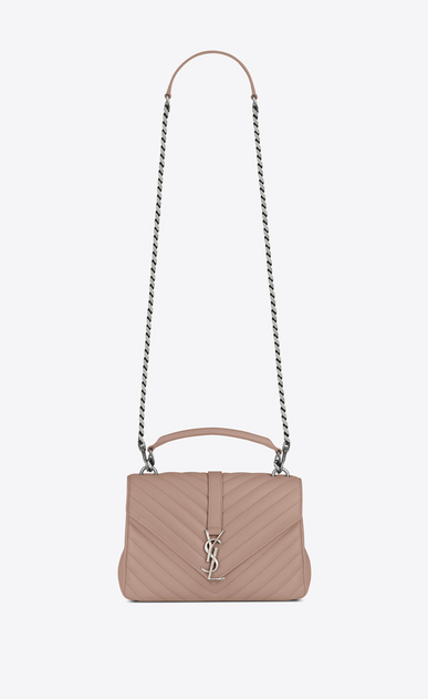 SAINT LAURENT Monogram College D classic medium collège bag in powder pink matelassé leather a_V4
