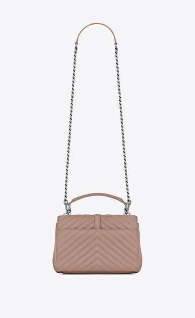 SAINT LAURENT Monogram College D classic medium collège bag in powder pink matelassé leather b_V4