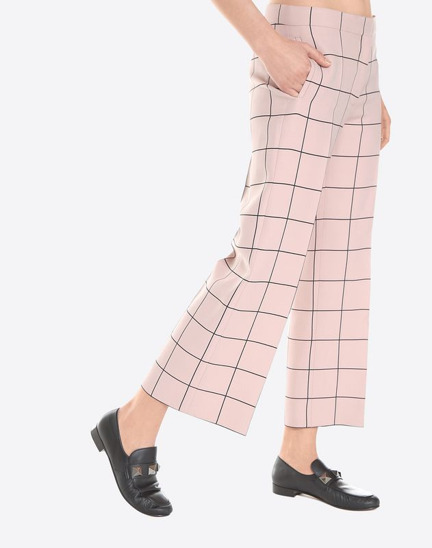 Printed crepe couture cropped trousers