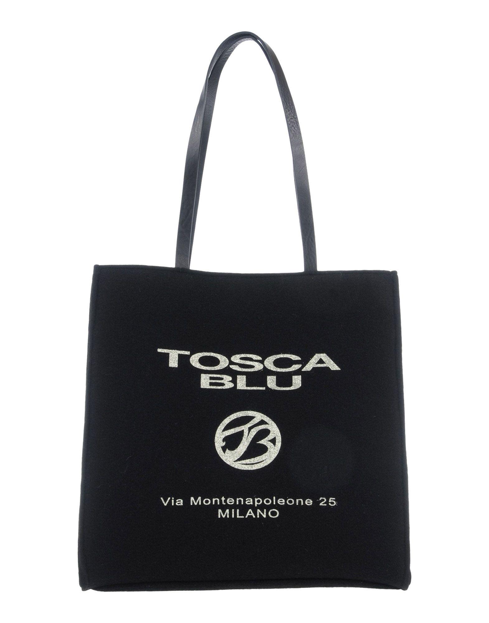 《送料無料》TOSCA BLU レディース ハンドバッグ ブラック ウール 70% / 革 30%