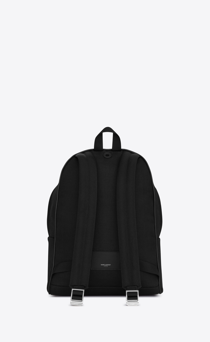 6b654fdde70d Saint Laurent City Backpack In Black Nylon Canvas And Leather ...