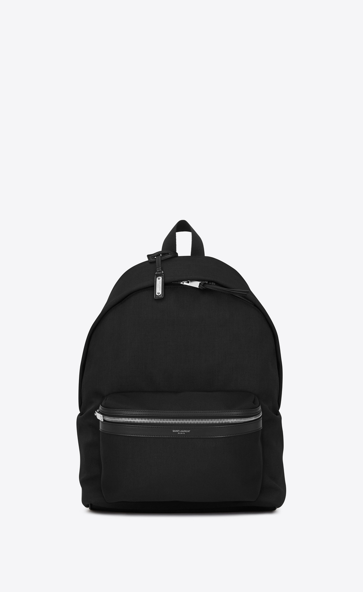 SAINT LAURENT City Backpack In Black Nylon Canvas And Leather, Dark Red