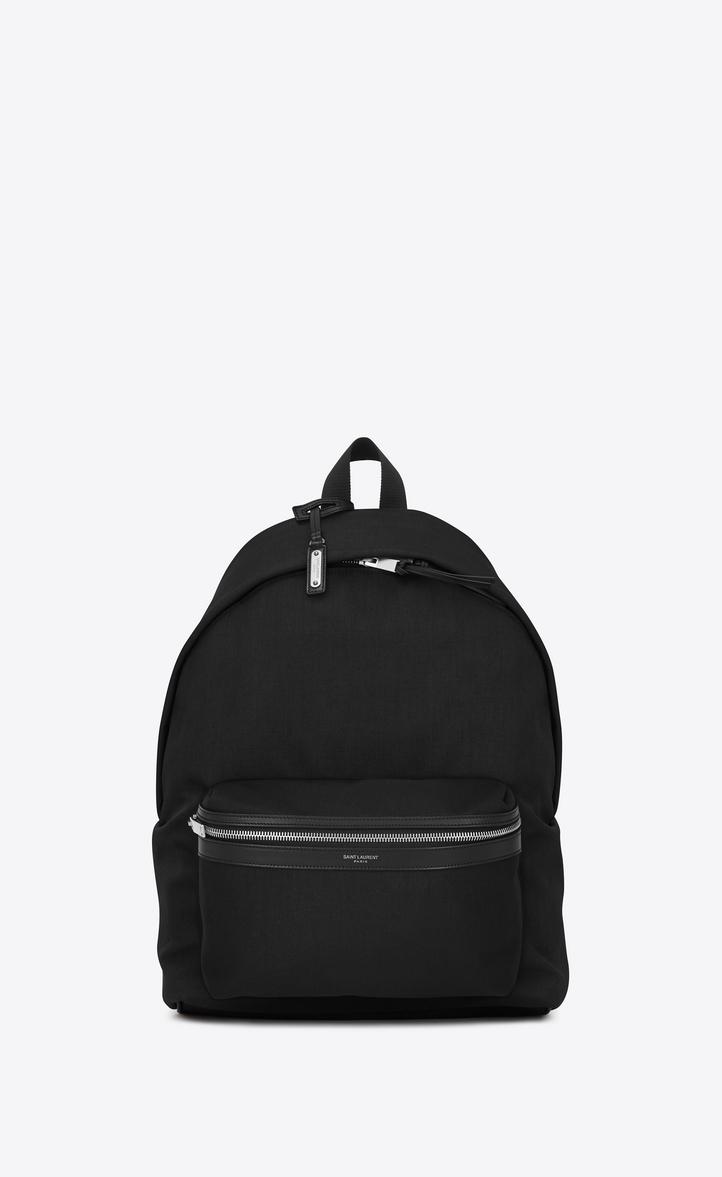 SAINT LAURENT City Leather-Trimmed Canvas Backpack in Black
