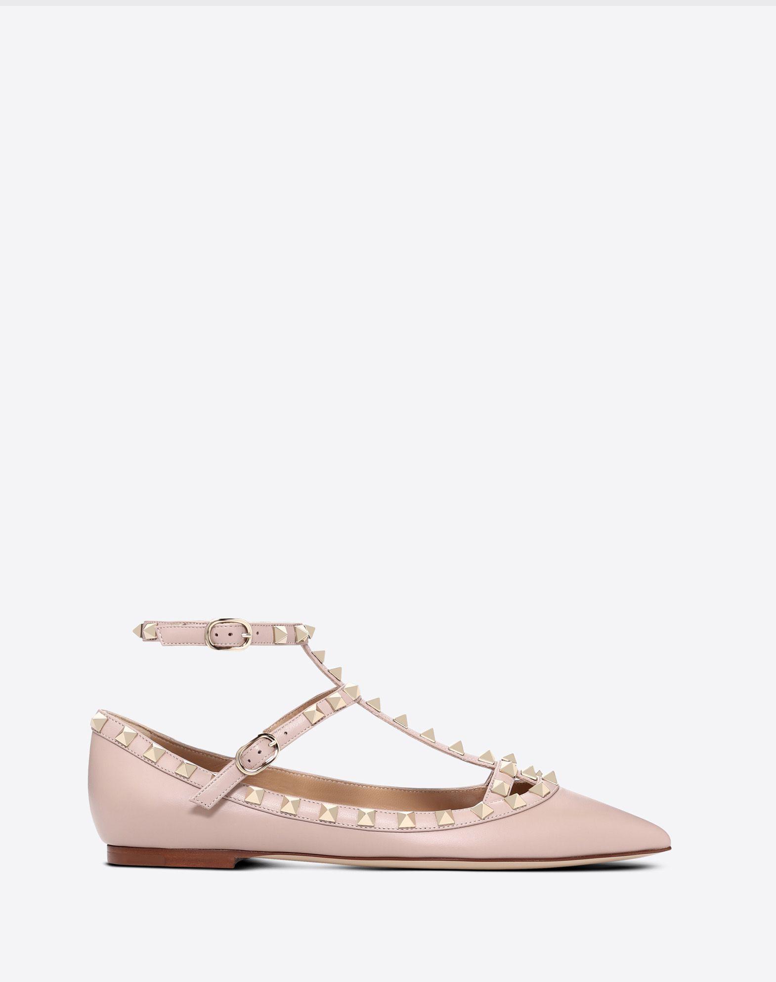 Rockstud ankle strap ballet flat
