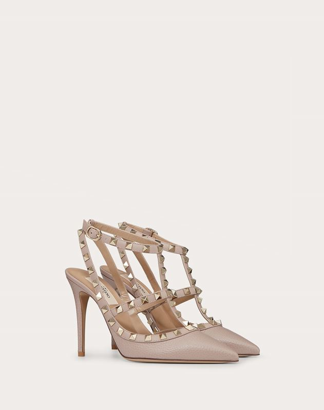 Rockstud Grainy Leather Ankle Strap pump 100 mm