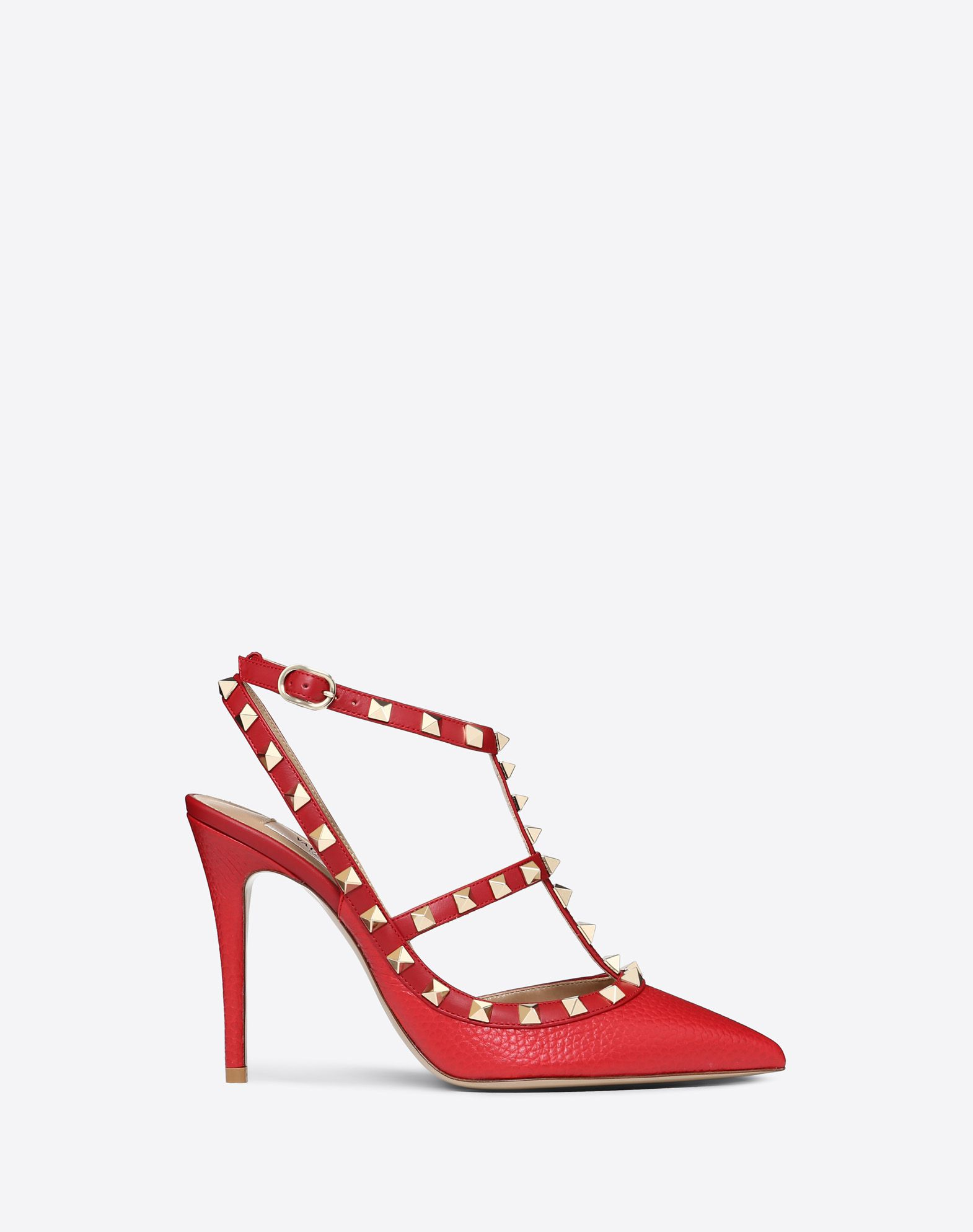 Rockstud Grainy Calfskin Ankle Strap Pump 100  mm