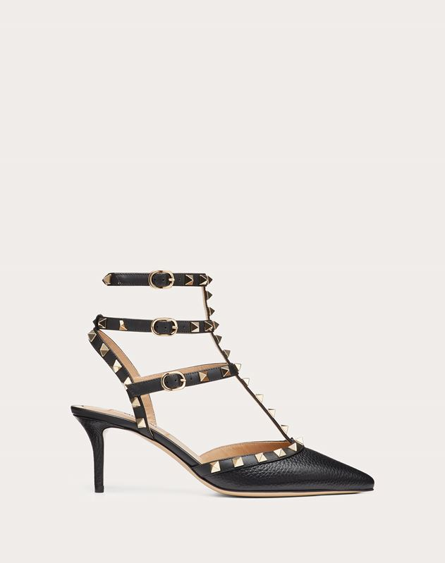 Grain calfskin leather Rockstud caged Pump 65mm