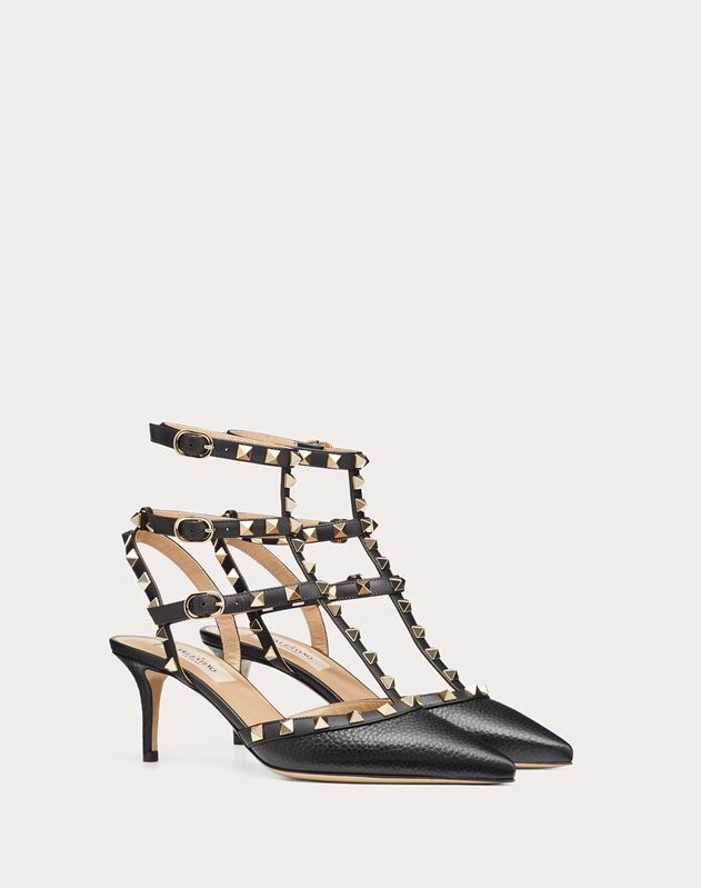 ROCKSTUD ANKLE STRAP PUMP IN TEXTURED -CALFSKIN LEATHER HEEL HEIGHT 65 MM