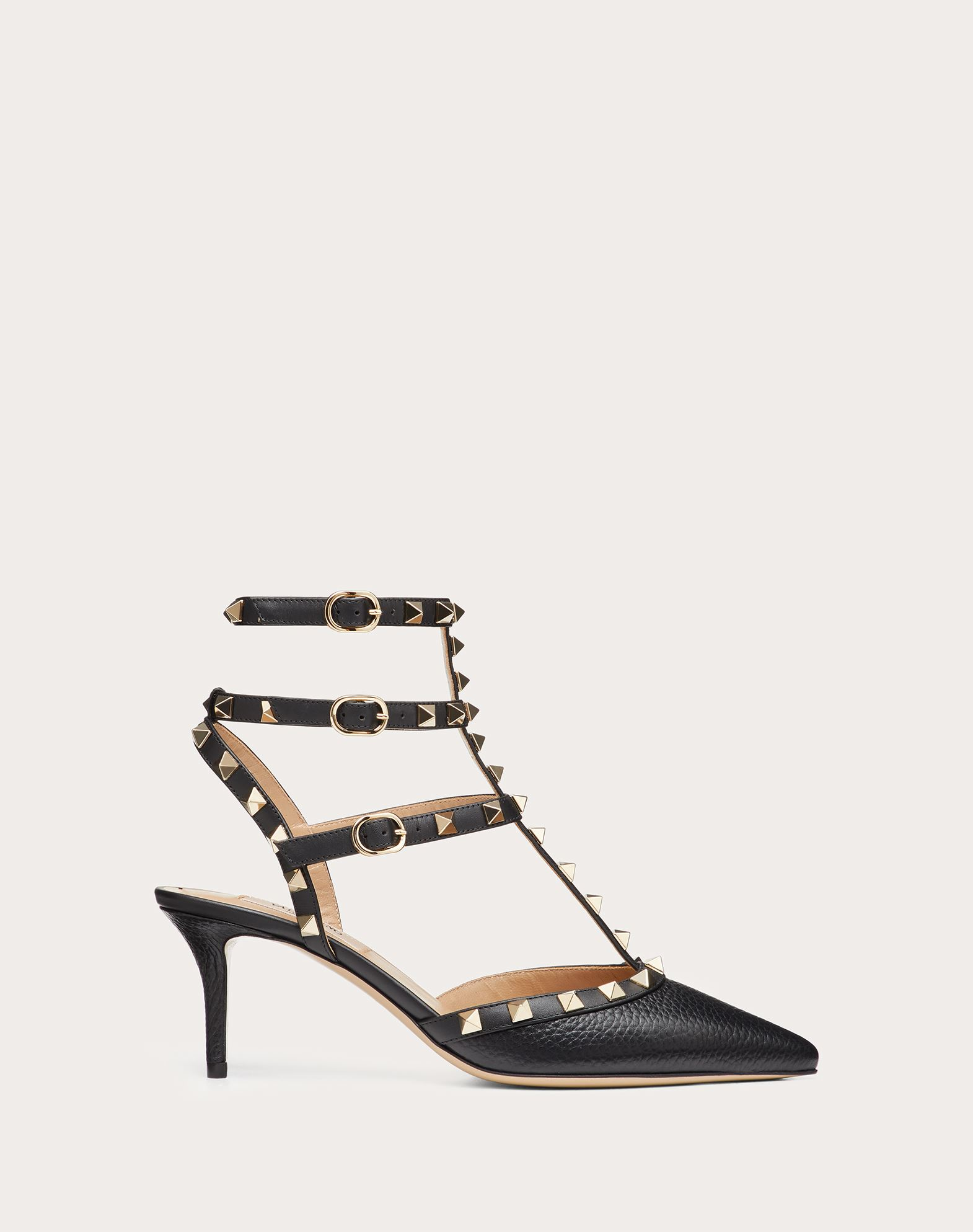 Rockstud Grainy Calfskin Ankle Strap Pump 65 mm