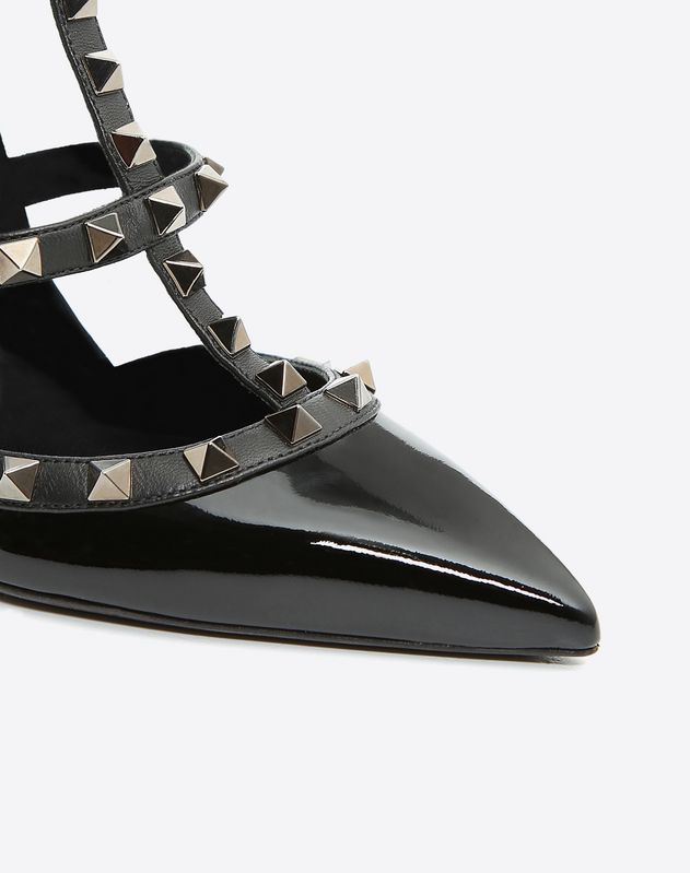 Patent Rockstud Noir caged Pump 100mm
